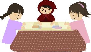友達と勉強中(イラスト)