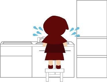 台の上に乗って洗い物