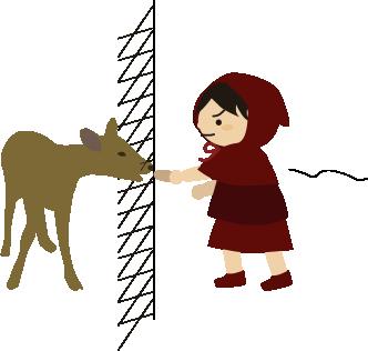 鹿に鹿せんべいをあげようとするが
