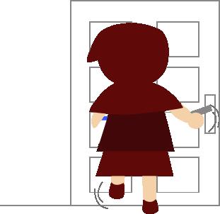 玄関を開ける