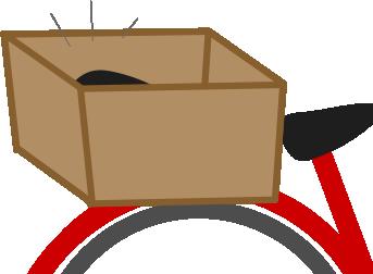 自転車のカゴに黒いものが