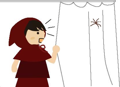 カーテンに大きな蜘蛛が