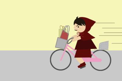 自転車で急ぐ
