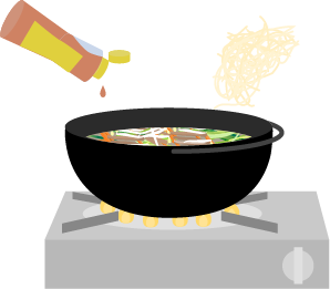 ゴマ油と中華麺を入れる