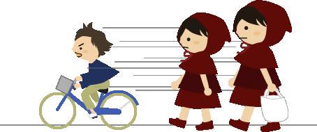 男の子が自転車で通り過ぎる