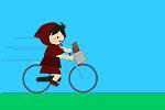 学校から自転車で帰るチビずきん