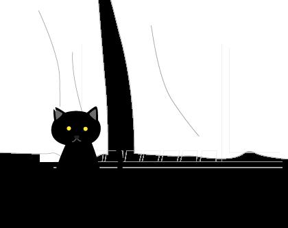 黒猫(様子をみてる)
