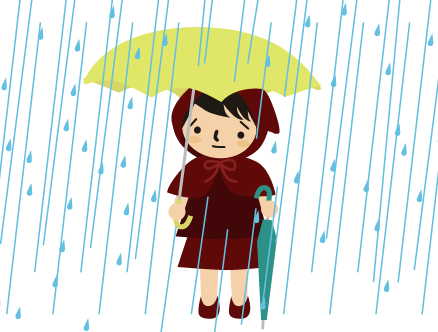雨の中傘を持ってきてくれるチビずきん