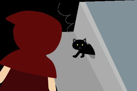 雨水の排水口から黒猫