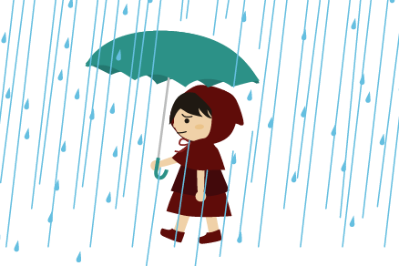 雨の中赤ずきん