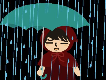 傘をさす赤ずきん