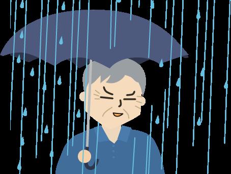 雨の中の父