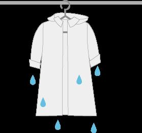 濡れたレインコートを干す