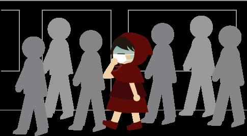 地下鉄でフラフラの赤ずきん