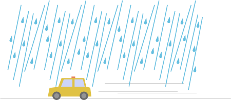 雨の中タクシーに乗る