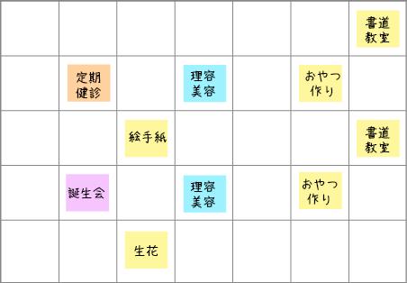 一ヶ月の予定表