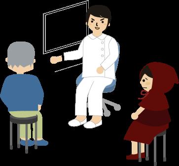 病院で先生と話す