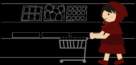 ショッピングカートを押す赤ずきん