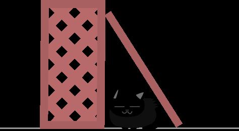 風に吹かれる黒猫