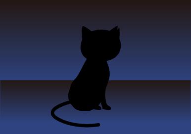 黒猫が向こうを向く