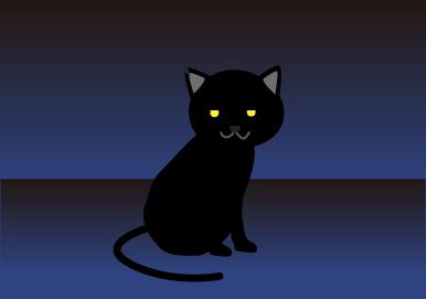 黒猫が振り向く