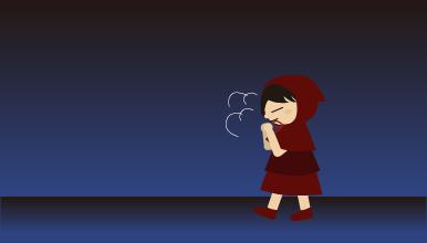 寒い夜道を帰る