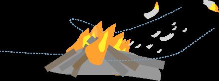 焚き火から火の粉が飛ぶ