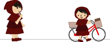 自転車で塾に行く