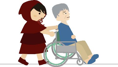 車椅子を押す