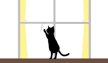 猫が戸を叩く