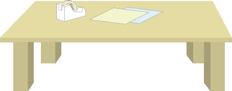 テーブルの上にテープ台