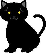困り顔の黒猫