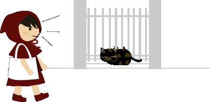 玄関でまったりする猫と私