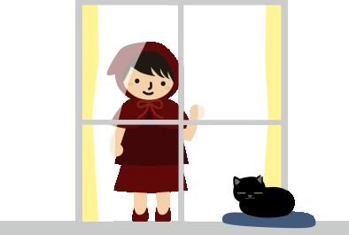 縁側でまったりする黒猫と私