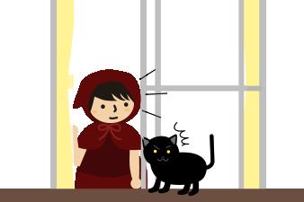 何かに気づいた黒猫と私