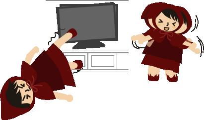 テレビを足で抑え続ける