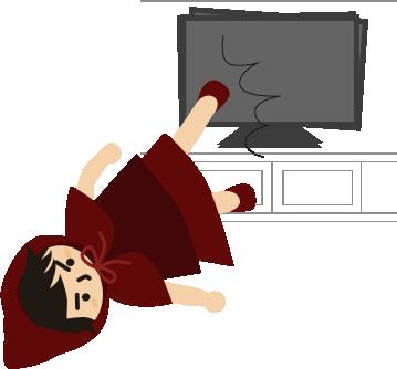 テレビを足で抑える