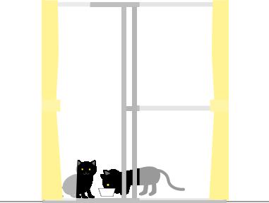 母猫の方がこっちを見てる