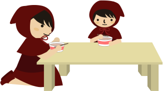 親子でカップ麺をすする