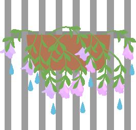 雨で花が下に垂れる