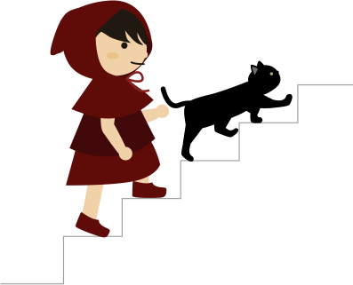 黒猫と階段を上がる