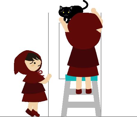 高いところに上がった猫を下ろそうとする