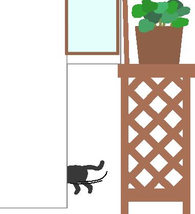 猫が逃げる