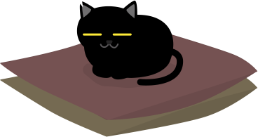 座布団の上に黒猫