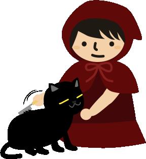 黒猫の毛を整える