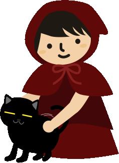 黒猫を撫でる