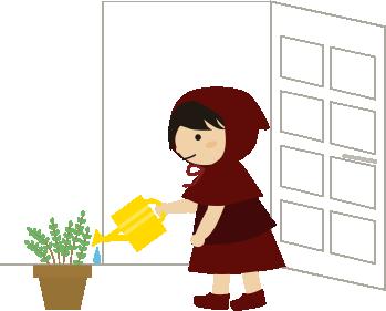 玄関横の鉢植えに水やり
