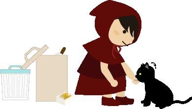 黒猫に魚の身をあげる