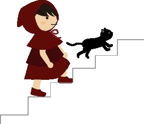 黒猫と2階に上がる