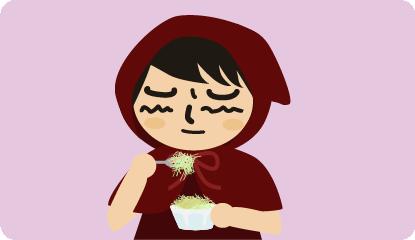 渋々食べる